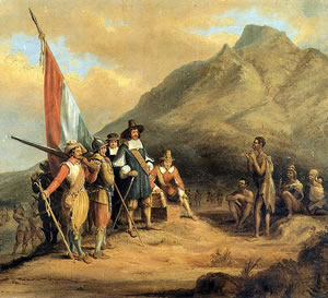 Ancient Africa - The arrival of Dutch colonial administrator Jan van Riebeeck at the Cape of Good Hope in 1652.